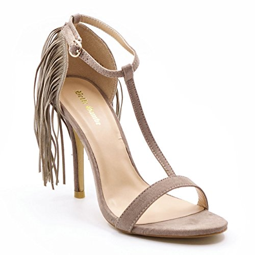 Belle Gambe Women's Partywear Beige Pointed toe Heeled Sandals with Fringes at back – 8C_L55-12_38