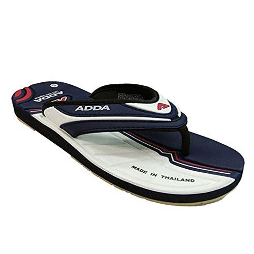 Adda Men's Navy Blue White synthetic slipper 8 uk