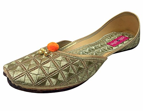 Step n Style Women Golden Punjabi Leather & Foam Jutti EURO 38