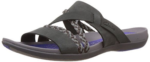 Clarks Women's Black Leather Flip-Flops and House Slippers – 3.5 UK
