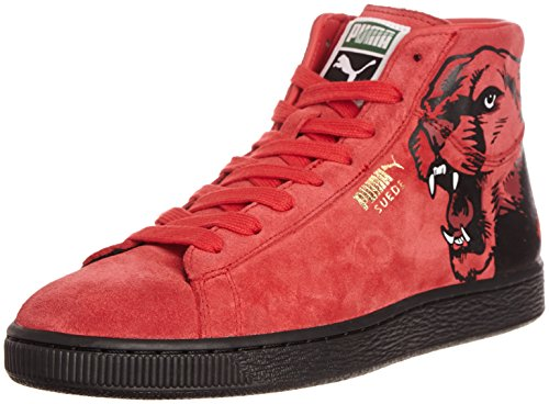 Puma Unisex Suede Mid Classic+ RoarCat Ribbon Red and Black Leather Boat Shoes – 9 UK