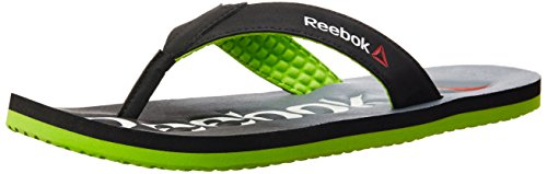 Reebok Men's Embossed Flip Back, Grey, Green and Red Flip-Flops and House Slippers – 10 UK/India (44.5 EU)(11 US)