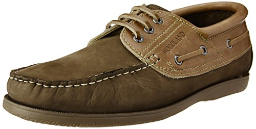 Woodland Men's Dbrown Leather Boat Shoes – 9 UK/India (43 EU)