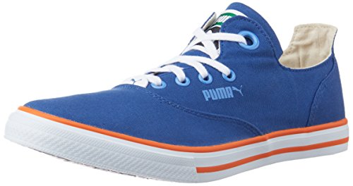 Puma Unisex Limnos CAT 3 DP Limoges, Marina Blue and Orange Canvas Sneakers – 11 UK