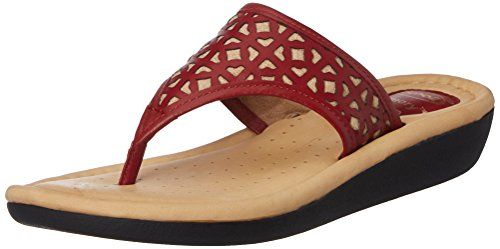 Dr. Scholls Women's Laser Latin Thong Red Leather Slippers – 6 UK/India (39 EU)(6745830)
