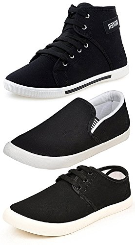 Ethics Men's Perfect Combo Pack of 3 Black Casual Loafer Shoes-For Black Shoes Lovers (8)