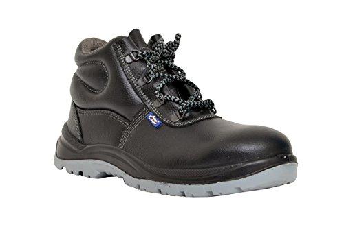 Allen Cooper 1008 Hi-Ankle Safety Shoe, Size-9 UK, Black