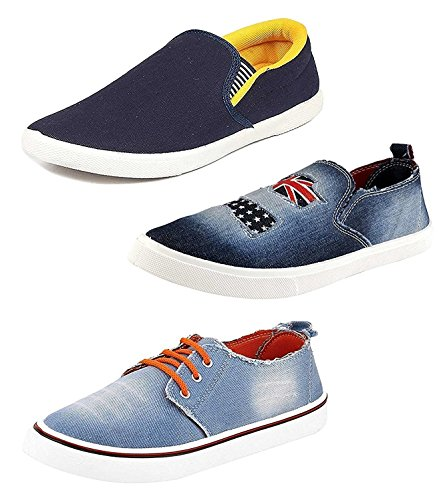 Chevit Men's Denim Combo Pack of 3 Blue Loafers and Sneakers Shoes TR-104+112+124-8