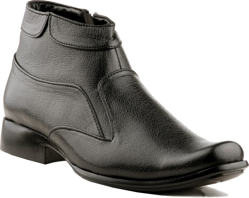 Zebra Men's 100% Comfortable and Durable S Leather ANKLE BOOT Slip On(Black)