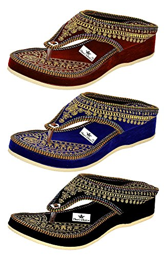 Thari Choice Woman and Girls Ethnic Fashion Sandal Slipper (Pack of 3) (Ind/Uk-8 or (Eu-41), Pack of 3)………. SKU : TSG-41