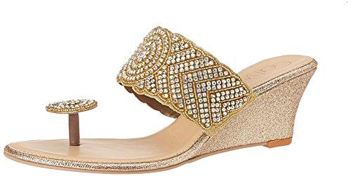 Catwalk Women's Gold Traditional Slippers – 8 UK/India (40 EU)