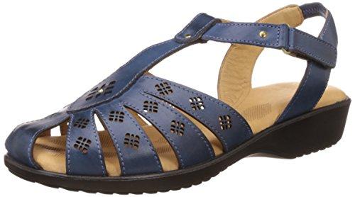 Dr. Scholls Women's Paris Closed Sandal Blue Leather Fashion Sandals – 7 UK/India (40 EU)(6649935)