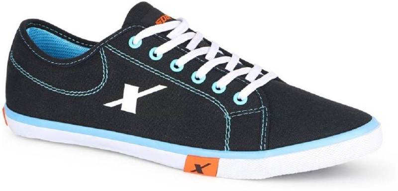 Sparx Men's 100% original SM-283 Black Sky Blue Canvas Shoes(Black)