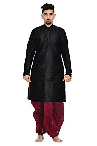 Mag Men's Black kurta Maroon Dhoti (AMG-1718-40)