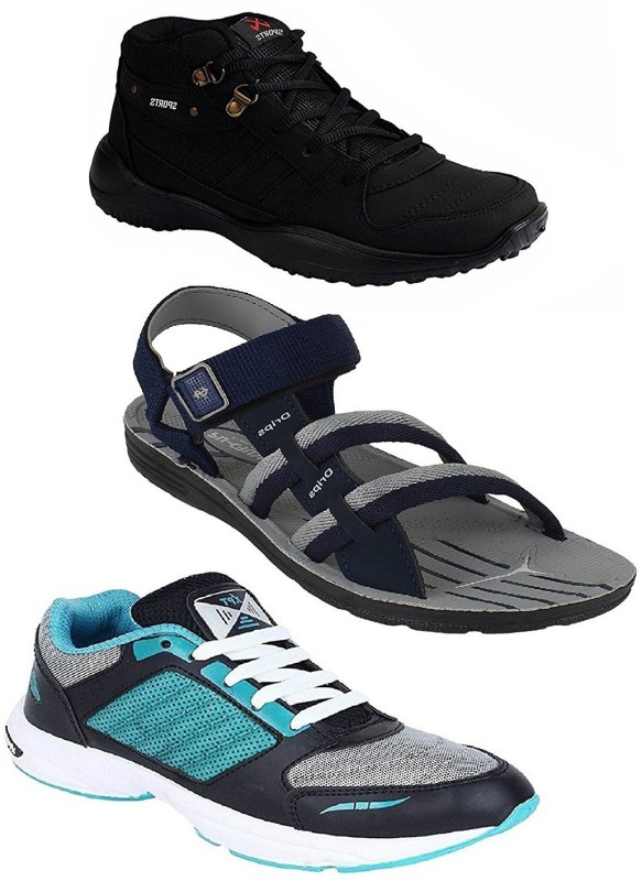 Chevit Men's Stylish Trio Pack of 3 Outdoor Tracking Running Shoes and (Sandals and Floaters) Running Shoes, Training & Gym Shoes, Walking Shoes(Multicolor)