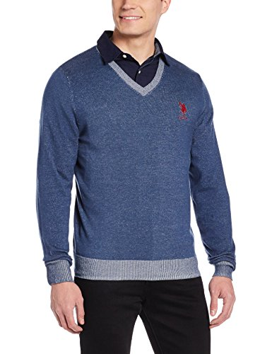 US Polo Association Men's Cotton Sweater (8907259204963_USSW0509_Ink Blue Melange_L)