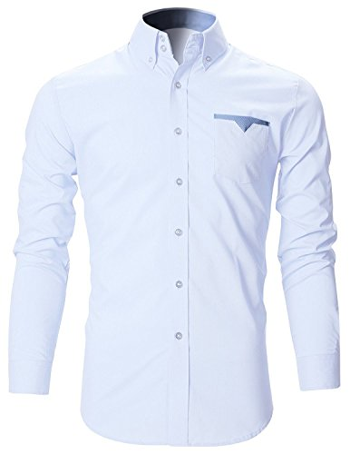 FINIVO FASHION Men's Cotton Casual Shirt (White, 44)