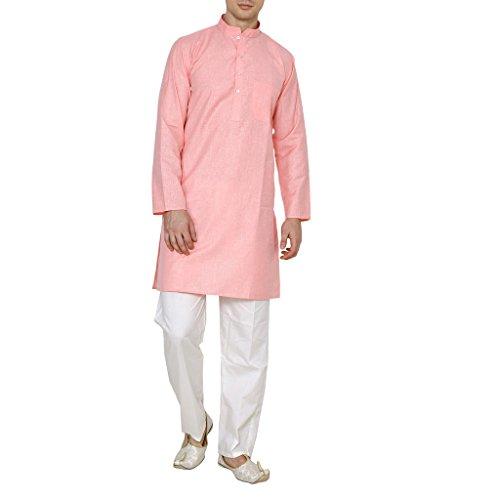 Royal Men's Light Pink Super Luxury Linen Cotton Kurta Pyjama Set For Comfort Wear