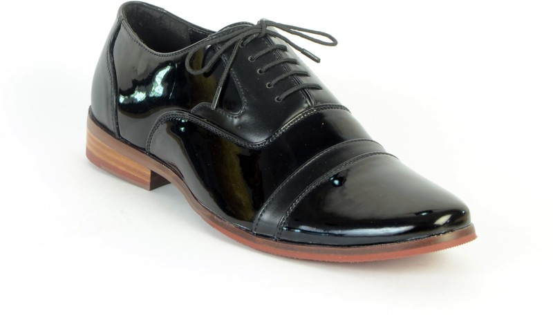 BBT Men's Black Synthetic Leather Oxford Brogues Formal Shoes Lace Up(Black)