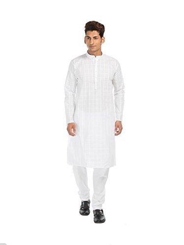 INDIANAMAKE Men's White 100% Cotton Kurta Pyjama Set,38