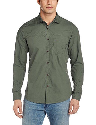 Indigo Nation Men's Casual Shirt (8907372723587_1ISE698239_39_Olive)