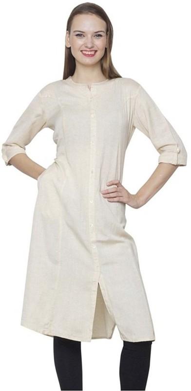 Metro Fashion Solid Women Frontslit Kurta(White)