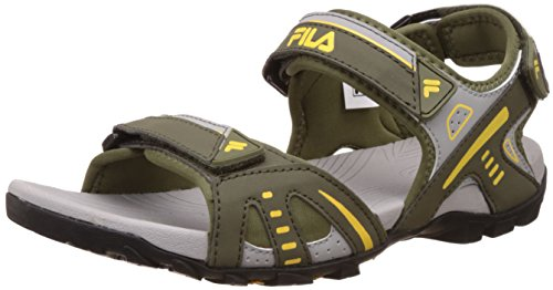 Fila Men's Santafea Khaki, Light Khaki and Yellow Sandals and Floaters – 6 UK/India (40 EU)