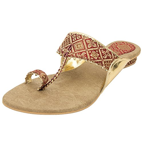 Footrendz Women's Ethnic Stylish Maroon Fabric Heels (41 EU)