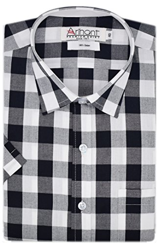 Arihant Men's Half Sleeves Checkered 100% Cotton Regular fit Formal Shirt (AR74000244_Black_Size:44)