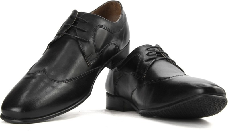 Red Tape Men Genuine Leather Lace Up Shoes(Black)
