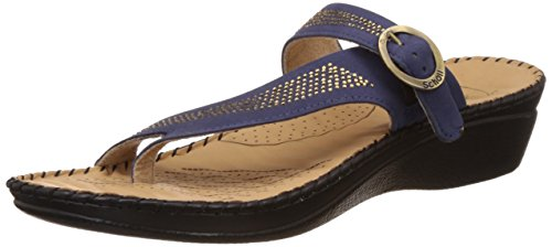 dr scholls womens alice toe ring blue leather slippers 4 ukindia 37 -