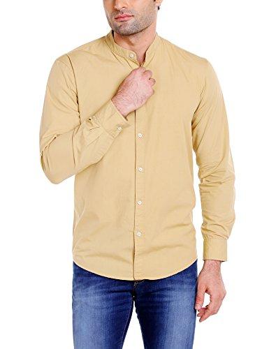 Dennis Lingo Men's Cotton Khaki Solid Casual Shirt (CC201_Khaki_XL)