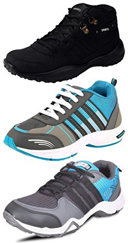 Chevit Men's Pack of 3 Sports Shoes with Joggers and Running Shoes – 10