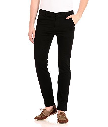 ZOYK Black Slim Fit Cotton Trousers