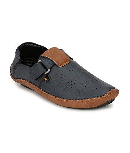 Big Fox Roman Sandals for Men, Blue/Brown, Synthetic Leather, Hook & Loop Closure Casual Footwear.
