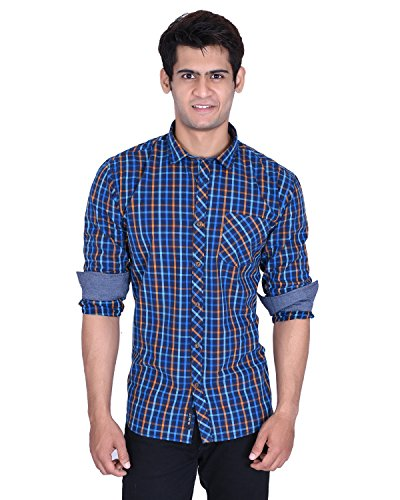 Roller Fashions Men's Blue Checked Long Sleeves Slim Fit Cotton Casual Shirt