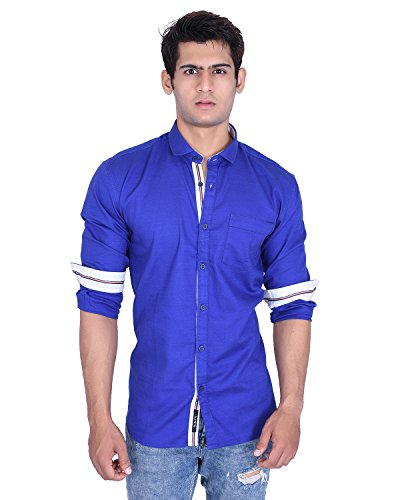 Roller Fashions Men's Royal Blue Solid Slim Fit Cotton Casual Shirt