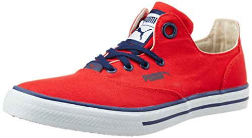 puma unisex limnos cat 3 dp high risk red white and peacoat canvas sneakers -