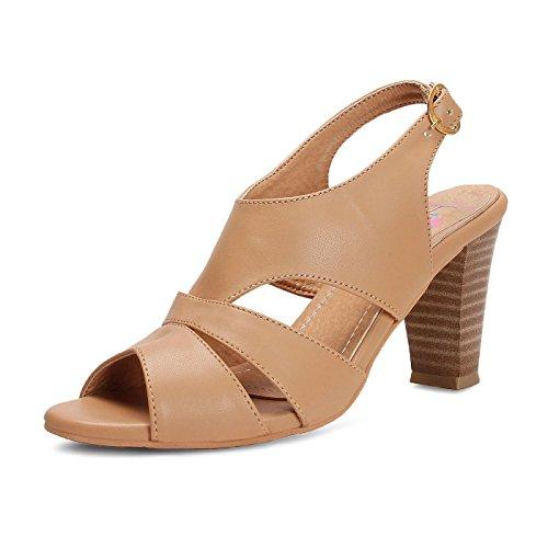 meriggiare women synthetic beige heels 39 eu -