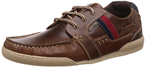 red tape mens brown leather boat shoes 6 uk -