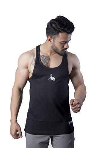 GreyWolf Arch Stringer Mythos Black Men's Vest For Sports / Gym (Muta_Black_Vest04) (Small)