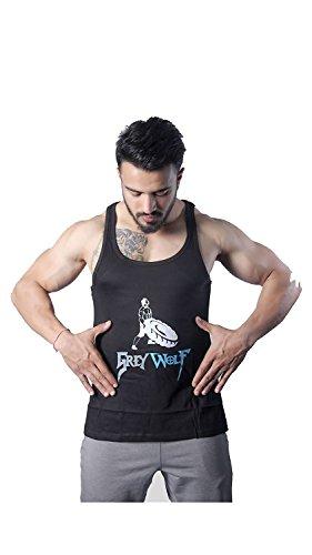 GreyWolf Sculpted Stringer Mythos Black Men's Vest For Sports / Gym (Muta_Black_Vest02 ) (Small)