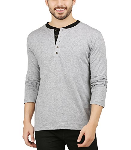 Leaf Woods Mens Cotton Premium Henley Full sleeve T-Shirt For Men