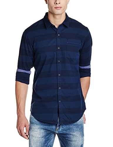 Solly Jeans Co Men's Casual Shirt (8907587975429_ALSF517J01053_42_Blue Solid)