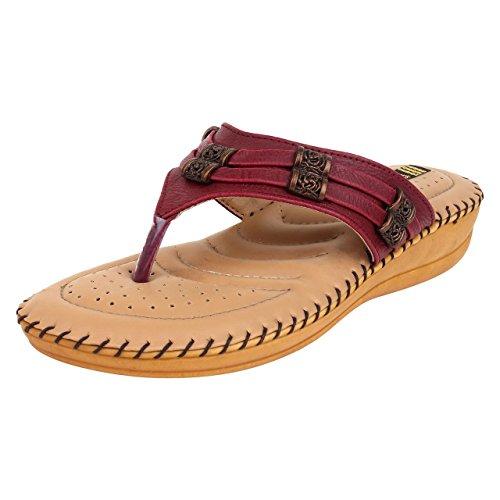 1 Walk Women's Maroon Dr. Sole Comfortable Flat Sandal – 3