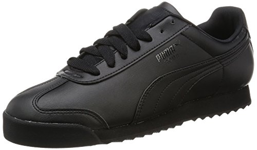 Puma Men's Roma Basic Black Leather Sneakers – 7 UK/India (40.5 EU)