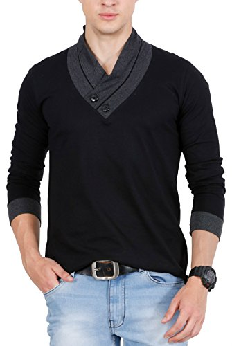 Fashion Freak Full Sleeve T Shirt For Men Stylish V-Neck Cotton Grey Black (FF009) (XX-Large)