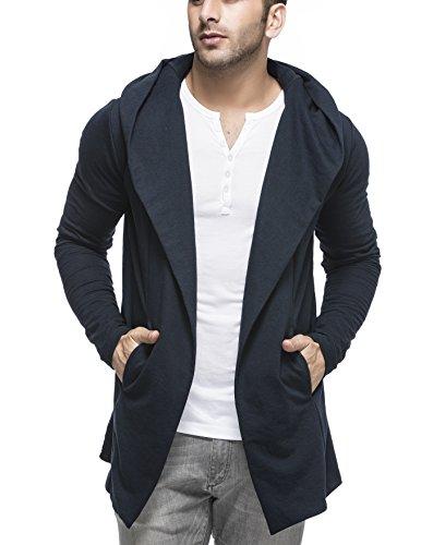 Tinted Men's Cotton Blend Hooded Cardigan TJ5401-NAVY-M