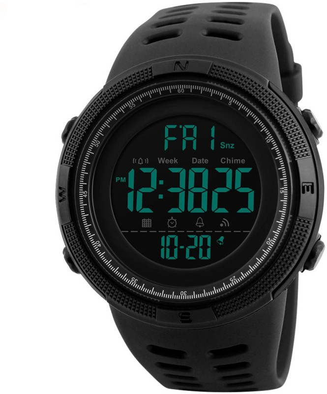 Skmei Digital Multi-functional Full Screen Black Sports Watch  – For Men