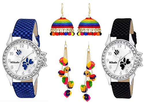 Mikado Exclusive New shinning precious stone analog watches combo for women and girls Watch With ear rings- For Girls